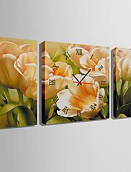 Carré Moderne/Contemporain Horloge murale,Autres Toile 30 x 60cm(20inchx20inch)x2pcs+ 60 x 60cm(24inchx24inch)x1pcs
