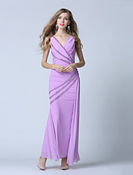 Formal Evening Dress - Open Back Trumpet / Mermaid V-neck Ankle-length Tulle with Beading Sequins