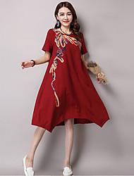 Women's Vintage Print Sheath Dress,Round Neck Knee-length Linen