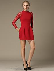 Women's Vintage / Cute Solid Sheath / Little Black Dress,Crew Neck Mini Cotton / Spandex
