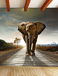 JAMMORY 3D Wallpaper For Home Contemporary Wall Covering Canvas Material African ElephantXL XXL XXXL