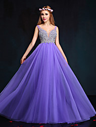 Formal Evening Dress Sheath / Column V-neck Floor-length Tulle with Beading / Crystal Detailing / Pearl Detailing / Sequins