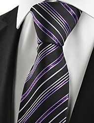 New Striped Purple Black Men's Tie Suit Necktie Wedding Party Holiday Gift #1058