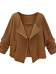 Women's Casual/Daily Street chic Spring Blouse,Solid Shirt Collar Long Sleeve Brown Polyester Medium