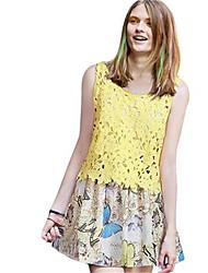 Women's Solid Yellow Blouse,U Neck Sleeveless
