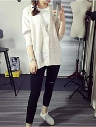 Women's Solid White Cardigan,Simple Long Sleeve