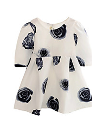 Girl's White Dress,Floral Polyester Spring / Fall