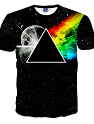 Men's Sports Casual/Daily T-shirt,Print Rainbow Short Sleeve Polyester