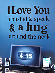 4096 I Love You & a hug- quotes Removable Cute Art Characters Writing Vinyl PVC Decal Wall Sticker Home Decor