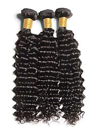 top 3pcs de qualité / lot 8-26inch cheveux bouclés vierge extensions péruvien de cheveux humains non transformés vague profonde faisceaux