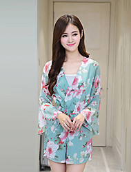 Women's Floral Pink / Green Jumpsuits,Vintage / Casual / Day V Neck Long Sleeve