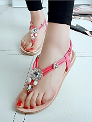 Women's Shoes Bohemia Diamond Beads Leatherette Flat Heel Comfort / Round Toe Toepost Sandals Casual Beach