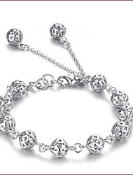 Women's Bracelet Sterling Silver Plated  Sample Hollow Lucky Beads Strands Bracelet Wedding for Bride
