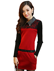 Women's Simple Patchwork A Line Dress,Shirt Collar Mini Polyester