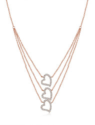 925 Sterling Silver Jewelry High Quality Rose Gold Necklace Pendant with Cubic Zirconia Setting Female Clavicle Chain