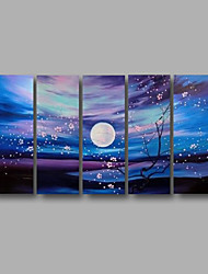 "Stretched (ready to hang) Hand-painted Oil Painting 60""x32"" Canvas Wall Art Modern Flowers Blossom Blue"