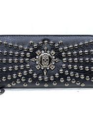 Women PU Bi-fold Clutch / Wallet / Card & ID Holder-Gray / Black