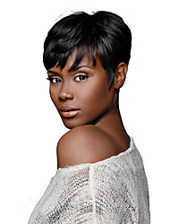 Rihanna Chic Cut Short Wigs Natural Black Brazilian Virgin Remy Hair Capless Human Hair Wigs