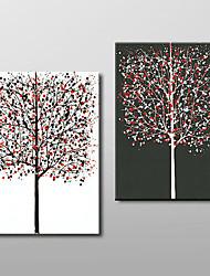 handgemaltes Ölgemälde Blätter bunt reichen Baum abstrakte 2 Stück / Set Wandkunst mit gestreckten Rahmen