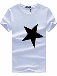 Masculino Camiseta Algodão Estampado Manga Curta Casual / Tamanhos Grandes-Preto / Vermelho / Branco / Cinza