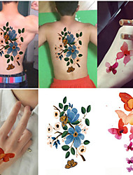 New Design 10pcs The Flower butterfly Tattoo Removable Waterproof Temporary Tattoo Stickers Temporary Body Art Painting