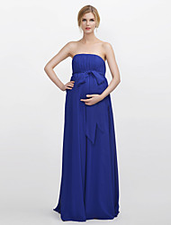 Floor-length Chiffon Bridesmaid Dress - Sheath / Column Strapless with Draping / Sash / Ribbon