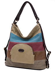 Unisex Canvas Hobo Shoulder Bag / Tote / Satchel / Backpack / Storage Bag / Sports & Leisure Bag-Blue / Khaki