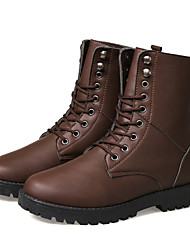 Men's Spring / Summer / Fall / Winter Combat Boots / Motorcycle Boots Rubber / Leather / Leatherette Outdoor / Casual / Athletic Flat Heel