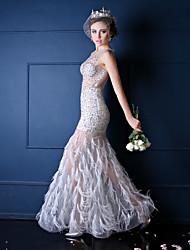 Formal Evening Dress-Ivory Trumpet/Mermaid Jewel Floor-length Tulle