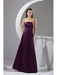 Formal Evening Dress A-line Strapless Floor-length Charmeuse with Draping