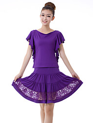 Latin Dance Outfits Women's Training Lace / Milk Fiber Lace / Pleated 2 Pieces Purple / Red