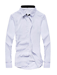 Men's Patchwork Casual / Formal Shirt,Cotton Long Sleeve Black / Blue / Pink / White / Yellow / Gray