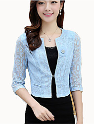 Women's Casual/Daily Street chic Spring Blazer,Solid Round Neck ¾ Sleeve Blue / Yellow Cotton Medium