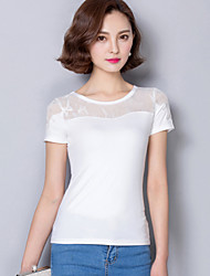 2016 Women's Summer Short-Sleeved Black / White T-Shirt, Short-Sleeve New Lace Sleeve Stitching