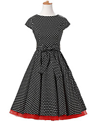 50s Era Vintage Style Cap Sleeves Rockabilly Dress Cosplay Costume Black White Mini Polka Dot (with Petticoat)