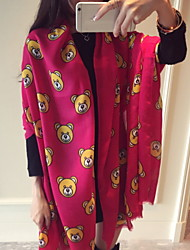New Winter Super Meng Cute Animal Print Bear Pattern Cotton Twill Scarf Scarves