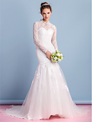 Trumpet/Mermaid Wedding Dress - Ivory Court Train High Neck Lace / Tulle