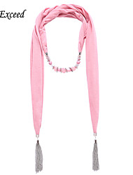 D Exceed Newest Polyester Jewelry Beaded Scarf with Tassel Chain Cotton Scarf Shawl for Women