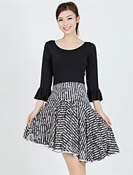 Latin Dance Dresses Women's Training Milk Fiber Draped / Pattern/Print 2 Pieces Black / Pink