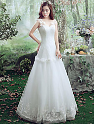 A-line Wedding Dress Floor-length Straps Lace / Tulle with Lace