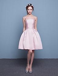 Short/Mini Satin Bridesmaid Dress Fit & Flare Spaghetti Straps