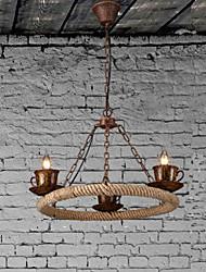 Ceramic Coffee Industry Wind Rope Chandelier RetroLron Chandelier Simple Restaurant3