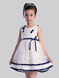 A-line Short / Mini Flower Girl Dress - Satin / Tulle / Polyester Sleeveless Jewel with