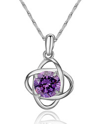 HKTC Women's Hollow 18k White Gold Plated Simulated Diamond Purple Crystal Flower Pendant Necklace