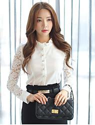 Mulheres Camisa Colarinho Chinês Manga Longa Renda Poliéster Mulheres