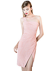 Women's Simple Striped Loose Dress,One Shoulder Knee-length Polyester