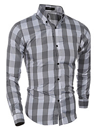 Men's Casual/Daily Simple Spring Fall Shirt,Plaid Button Down Collar Long Sleeves Cotton