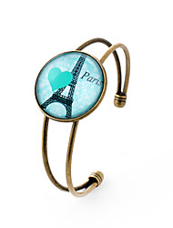 Lureme® Simple Jewelry Time Gem Series Eiffel Tower with Heart Charm Cuff Bangle Bracelet for Women and Gir
