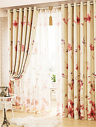 Two Panels Modern Floral Living Room Polyester Blackout Curtains Drapes