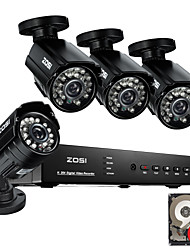 ZOSI@8CH 960H HDMI DVR with 1TB HDD 4PCS 800TVL Outdoor CCTV Home Security Camera System